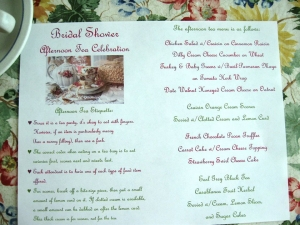 Bridal Shower Tea Party Menu