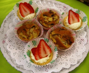 Tarts and bread pudding for a baby shower