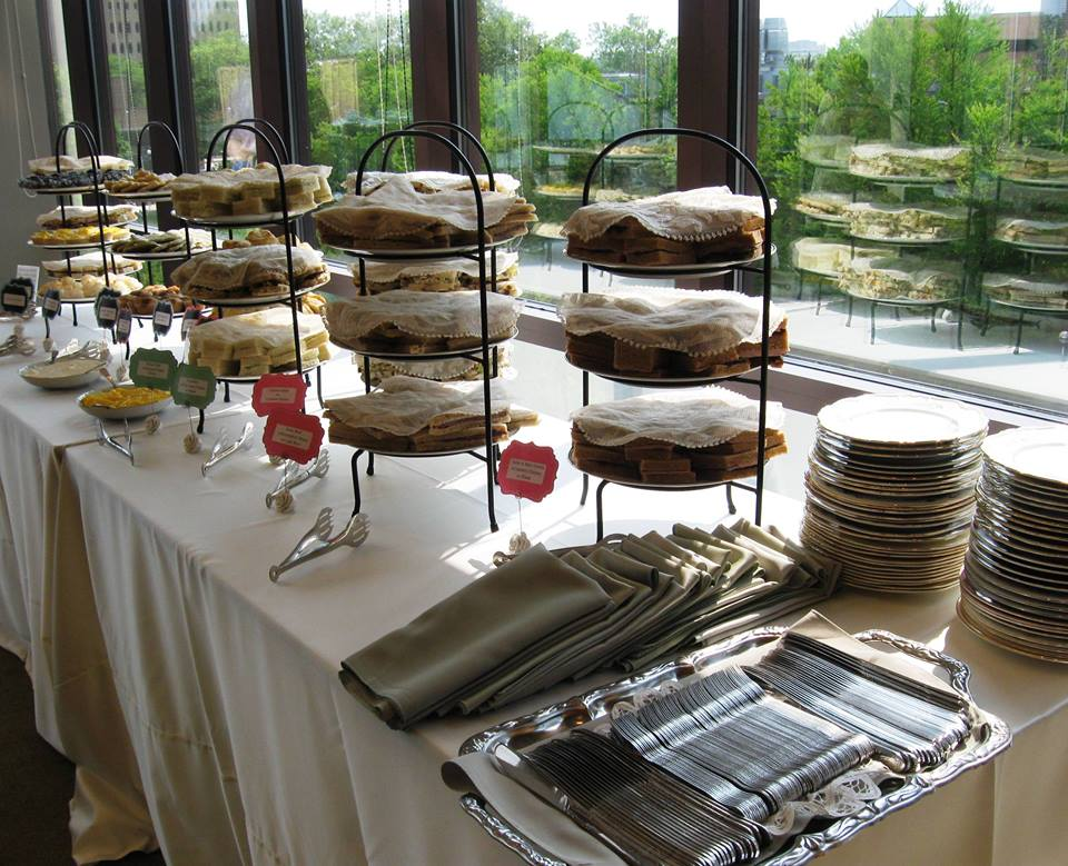 This buffet style was for a retirement celebration when the guest were stopping in a various times.