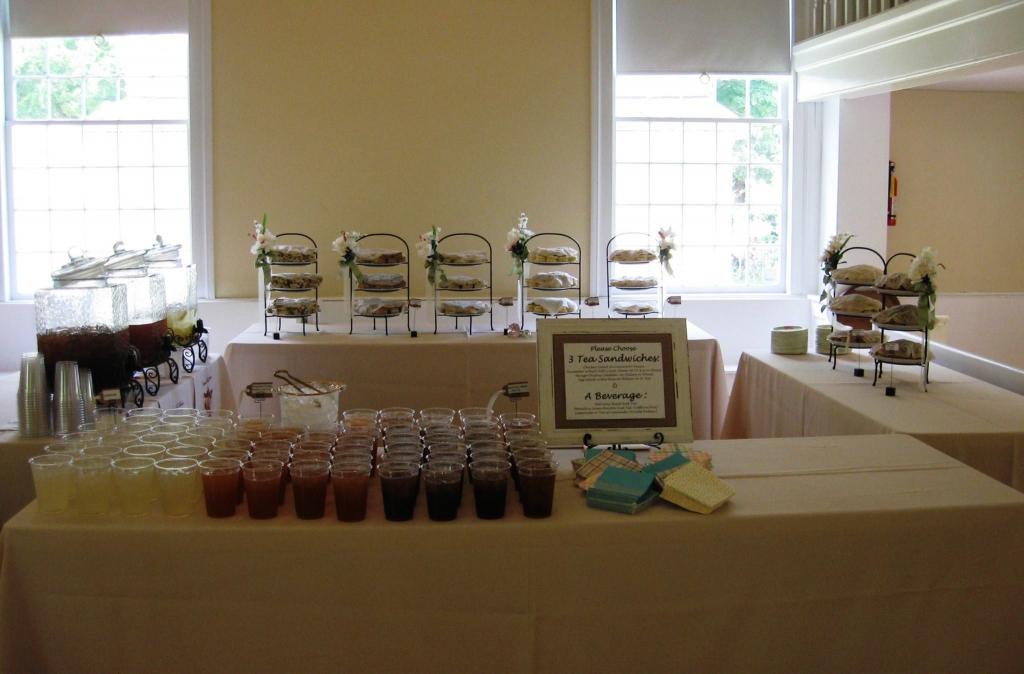 This setup was for a wedding were guest enjoyed a selection of tea sandwiches along with iced tea before the meal was served.