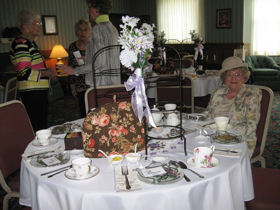 These tables were set by Victoria's Tea Salon and the linens were provided by the host.